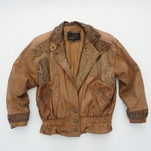 90s vintage | genuine leather bomber jacket